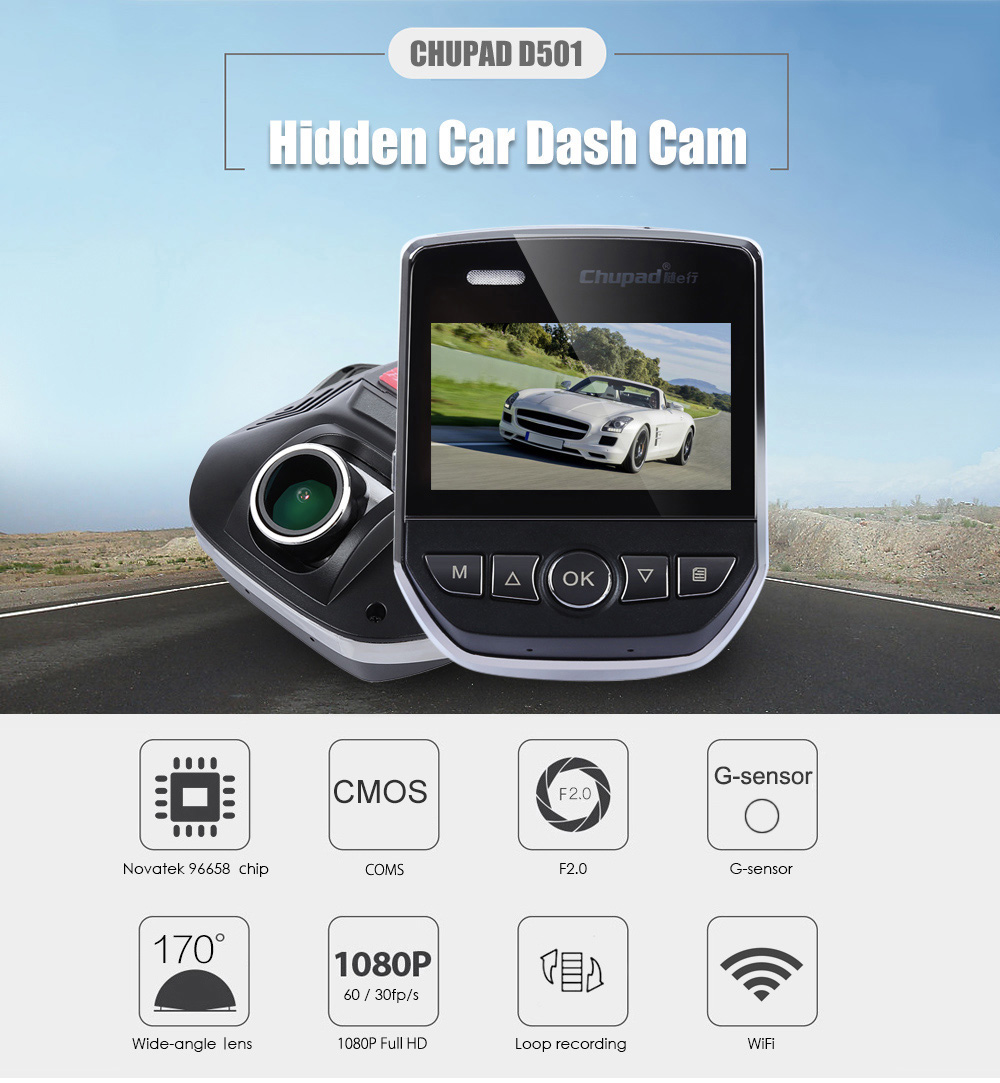 Chupad D501 Novatek 96658 Chip Hidden Car Dash Cam with Exmor IMX322 CMOS Sensor Car DVR 1080P Full HD