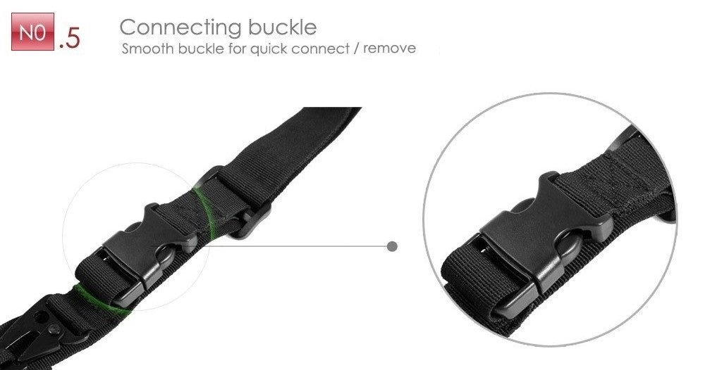 Outdoor Survival Elastic Three-point Sling Strap with Metal Buckles