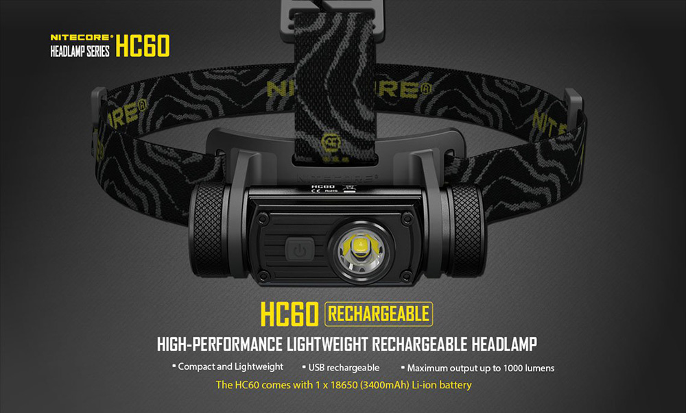 Nitecore HC60 1000Lm Cree XM - L2 U2 Rechargeable LED Headlamp 680h Runtime