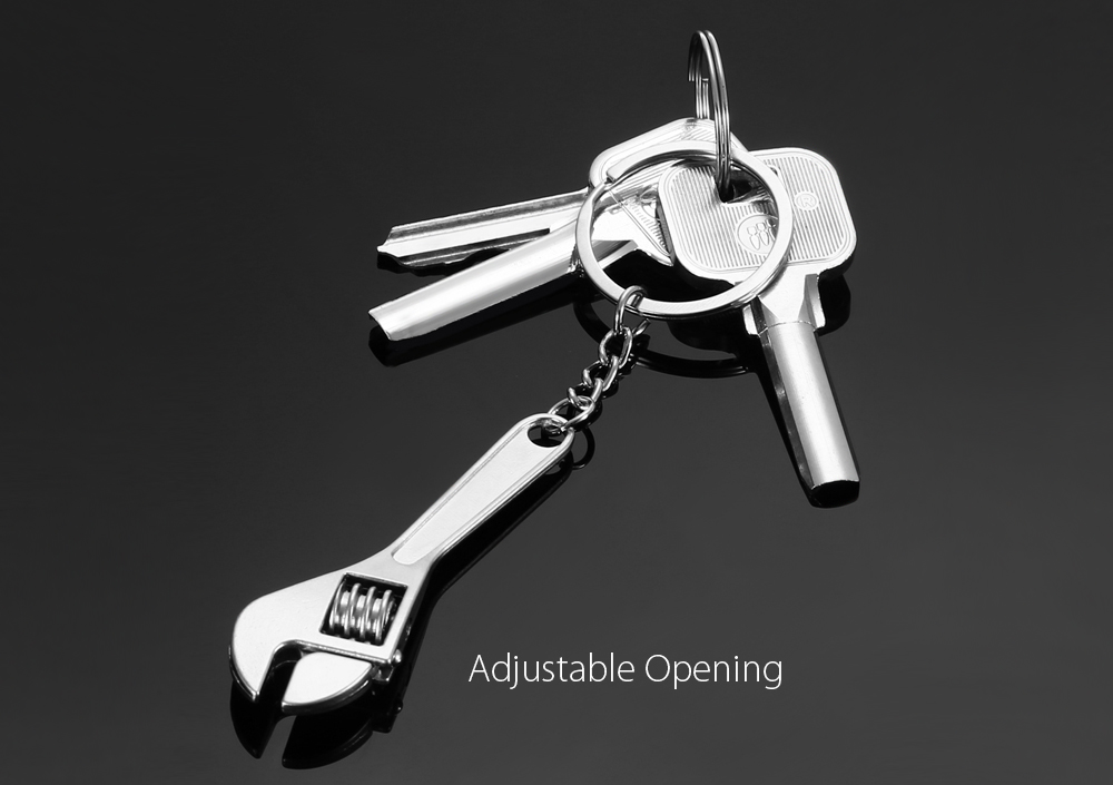 Adjustable Wrench Key Ring Chain Pendant Keyring Creative Tool