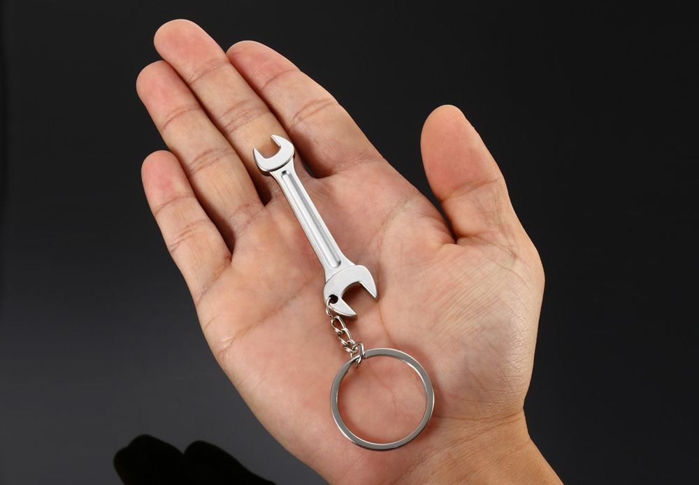 Mini Cute Solid Wrench Spanner Keychain Ring Creative Tool