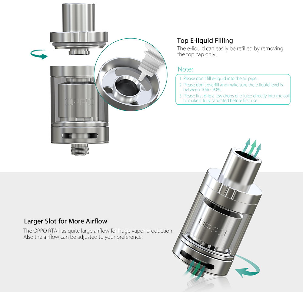 Original Eleaf OPPO 2ml RTA Rebuildable Tank Atomizer with Top Filling Design / Bottom Airflow Adjustment for E Cigarette Atomizer