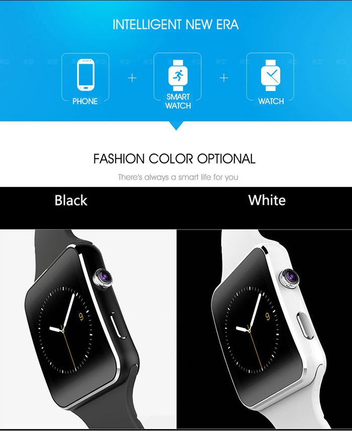 X6S 1.54 inch Smartwatch Phone MTK6260 Pedometer Sleep Monitoring Sedentary Reminder Remote Camera