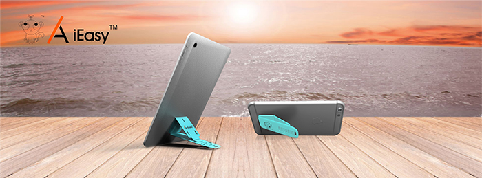 A iEasy Mini Adjustable Phone Paster Stand Foldable Tablet Bracket Ultra Slim Holder