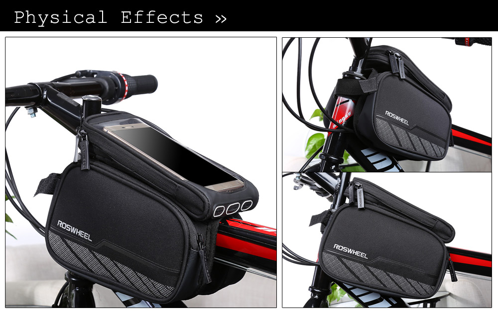Roswheel 12813 - A2 Touch Screen Reflective Bicycle Front Frame Bag Tube Pannier Double Pouches
