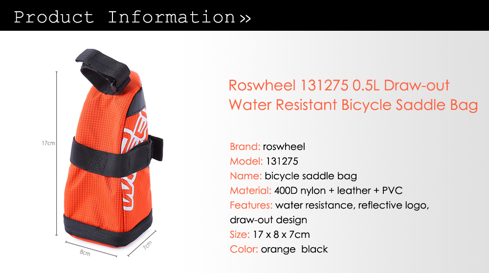 Roswheel 131275 0.5L Draw-out Water Resistant Bicycle Tail Bag Saddle Back Seat Pouch