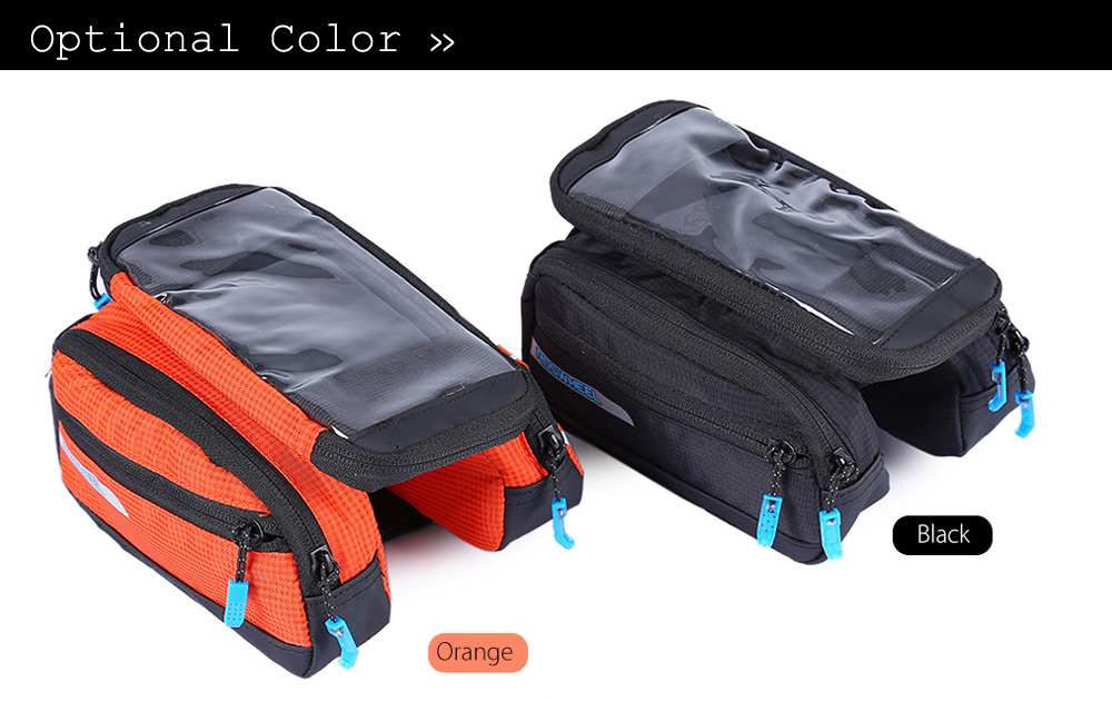 Roswheel 121273 - A 5.5 Inches Touch Screen Water Resistant Bicycle Front Frame Bag Tube Pannier Double Pouches