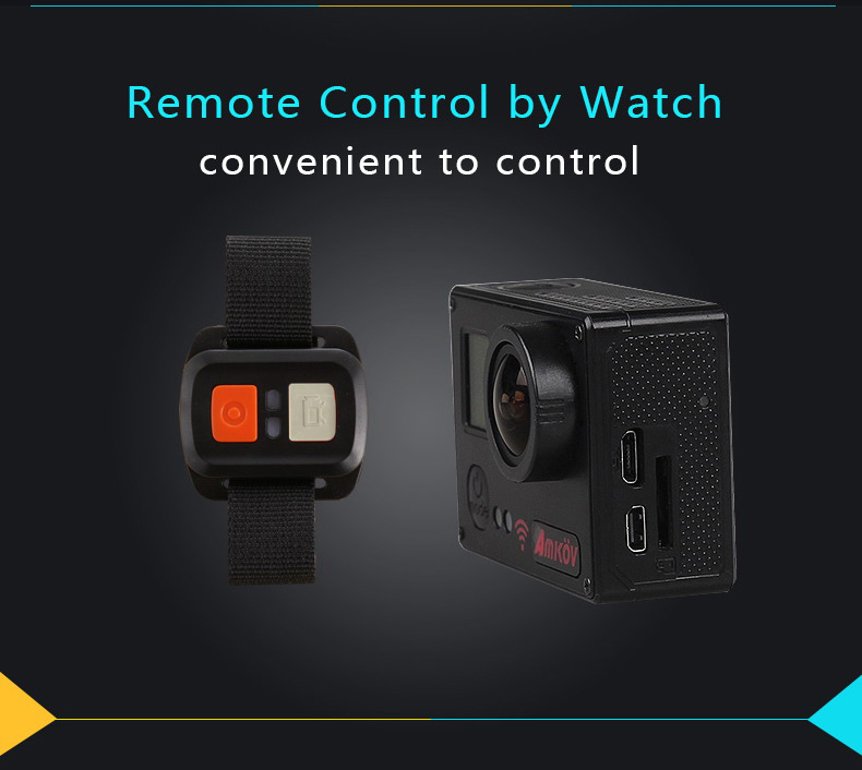 Amkov AMK7000S 4K Ultra HD 2 inches TFT WiFi Action Camera DV with Sunplus 6350M SPCA6350 OV4689 Image Sensor 170 Degree View Angle Remote Control Watch
