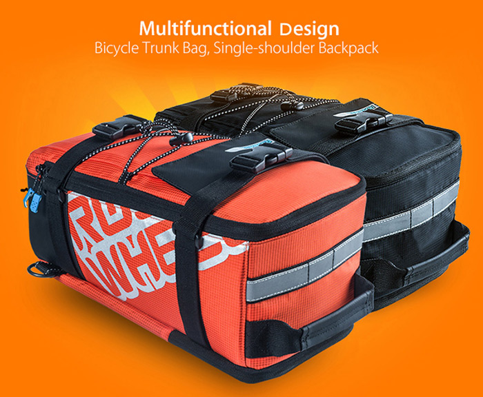 Roswheel 141276 Multifunctional 5L Bicycle Trunk Bag Bike Rear Rack Pack for Outdoor Cycling