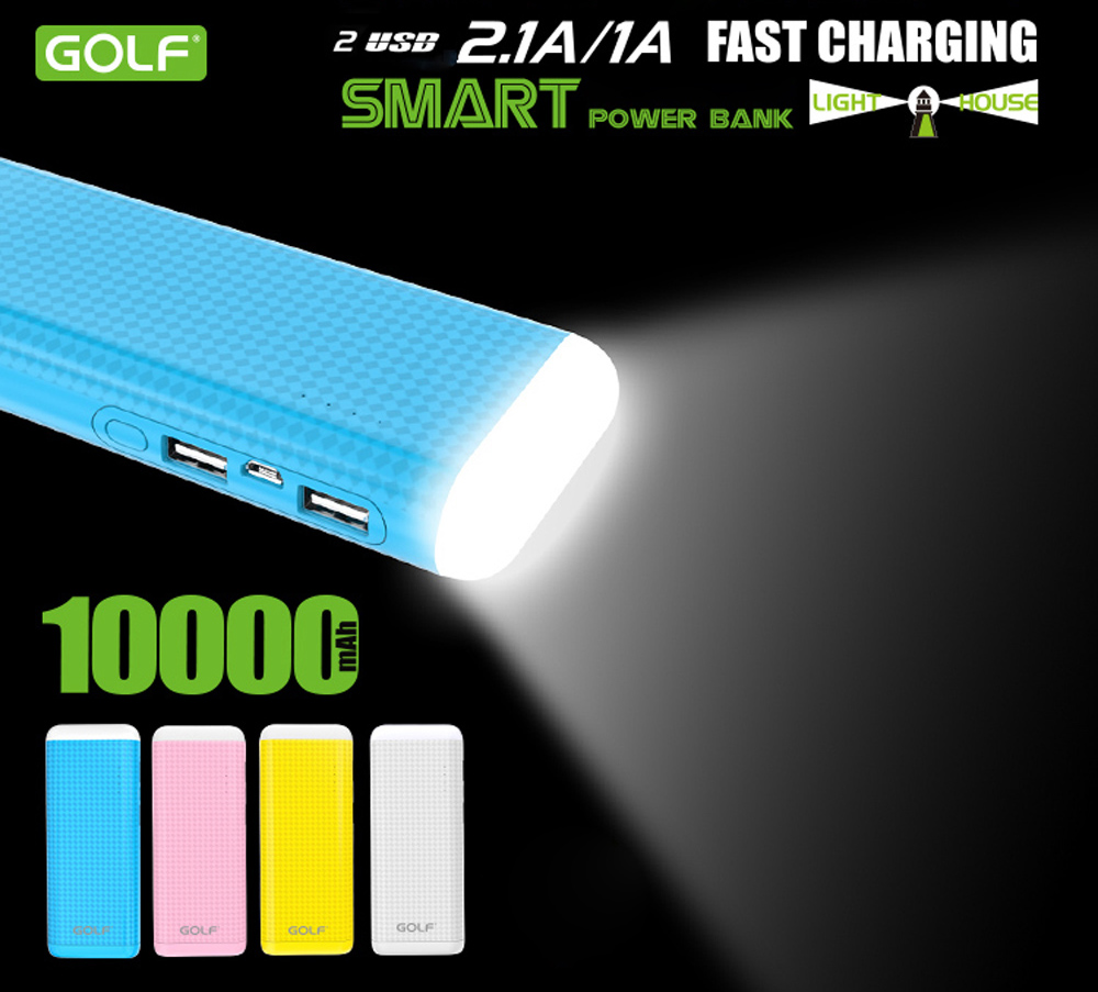 GOLF D5SGB 10000mAh Quick Charge Portable Power Bank with Dual USB Ports LED Table Lamp