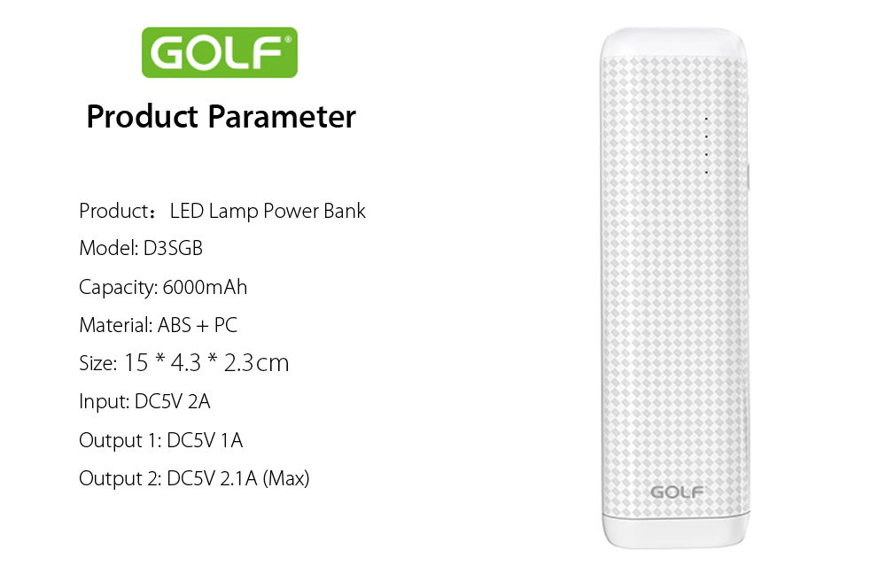 GOLF D3SGB 6000mAh Quick Charge Portable Power Bank with Dual USB Ports LED Table Lamp