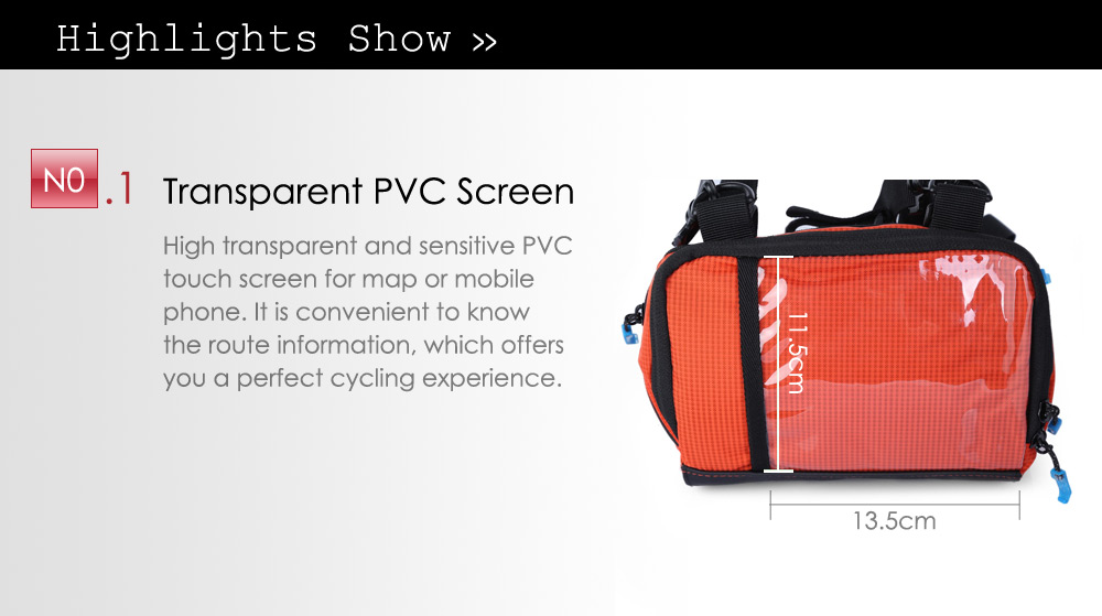 Roswheel 111271 3L Touch Screen Water Resistant Bicycle Front Bag Map Mobile Phone Pouch Sling Pack