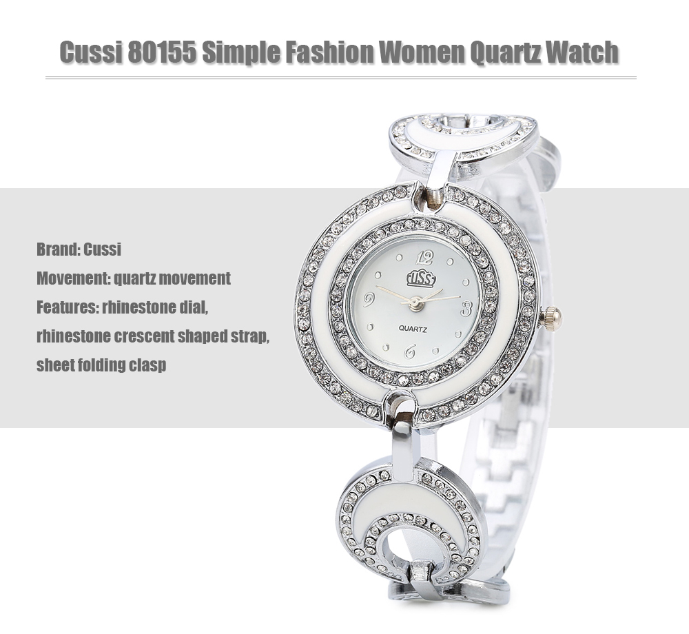 Cussi 80155 Simple Fashion Hollow-out Annulus Rhinestone Strap Quartz Watch for Female