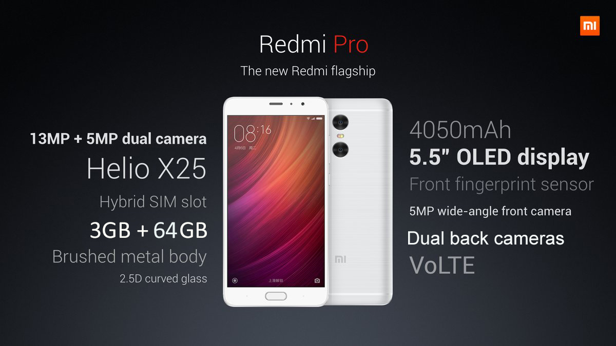 Xiaomi Redmi Pro Android 6.0 5.5 inch 2.5D Arc Screen 4G Phablet Helio X25 Deca Core 1.55GHz 3GB RAM 64GB ROM Fingerprint Scanner 13.0MP Dual Rear Camera Bluetooth 4.2