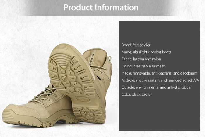 FREE SOLDIER Summer Men Breathable Ultralight Tactical Boots Mountain Climbing Combat Shoes