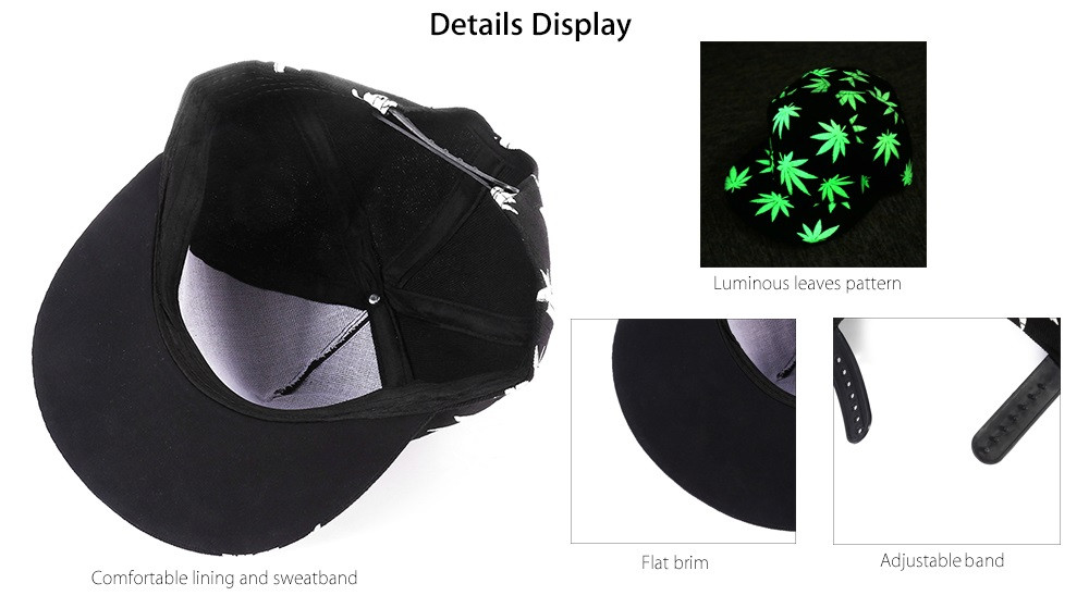 Fashion Unisex Night Luminous Baseball Hat Canvas Hip Hop Dance Cap