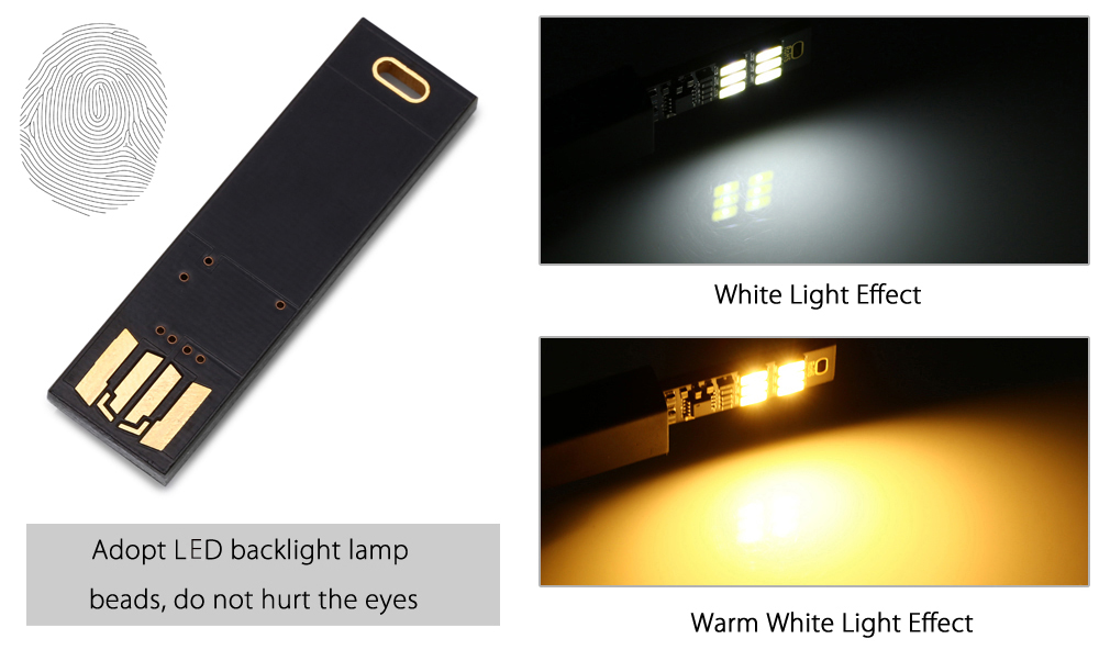 1W 75 Lumens White Light Touch USB Lamp Module 1PC