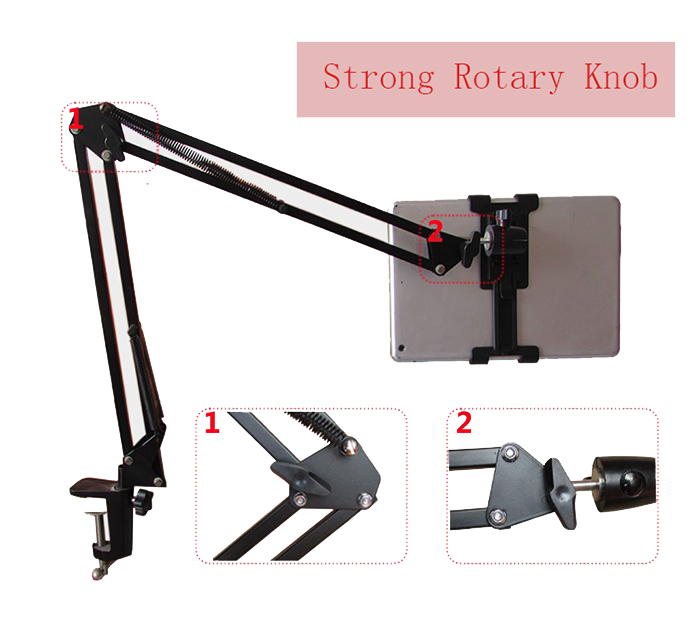 Practical Telescopic Mobile Rack Shelf Tablet PC Stand 360 Degrees Rotation Removable