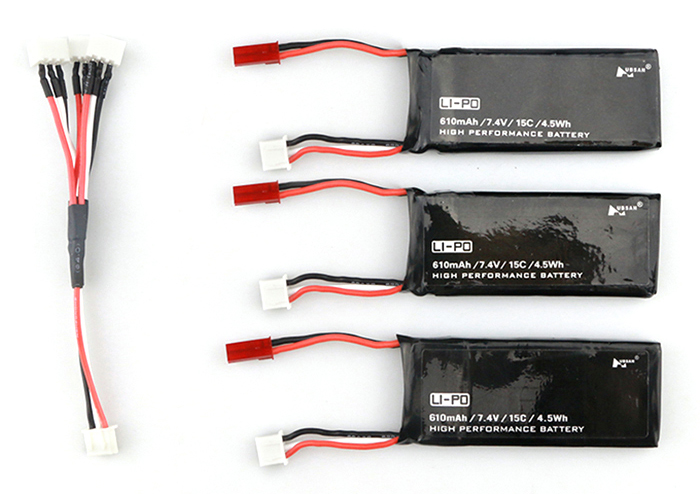 3 x 7.4V 610mAh 15C Battery + US Plug Charger / Cable Set Accessory for Hubsan H502S H502E RC Quadcopter Drone