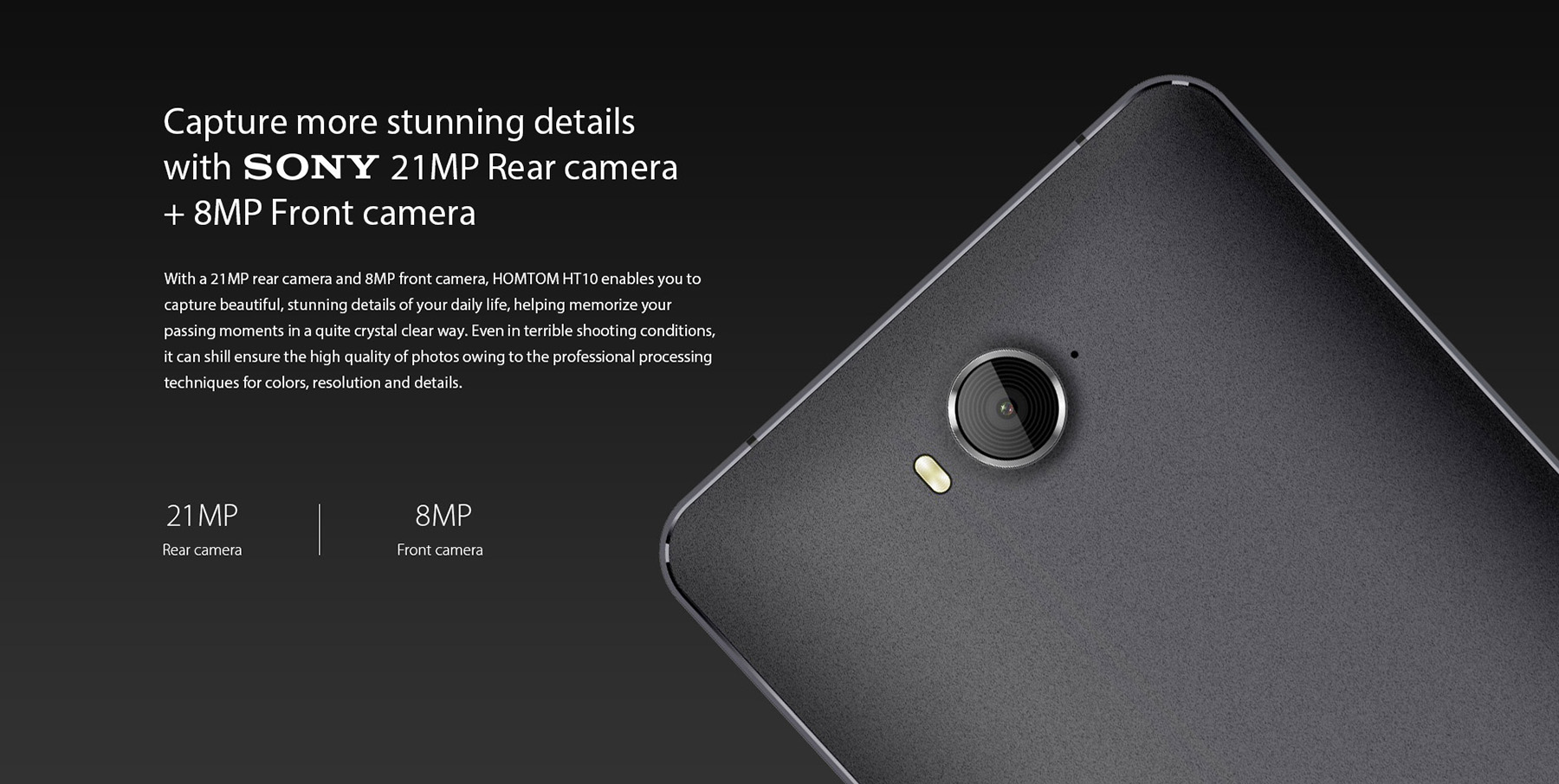 HOMTOM HT10 Android 6.0 4G Phablet 5.5 inch Arc Screen MTK6797 ( Helio X20 ) Deca Core 4GB RAM 32GB ROM 21MP Main Camera Iris Recognition