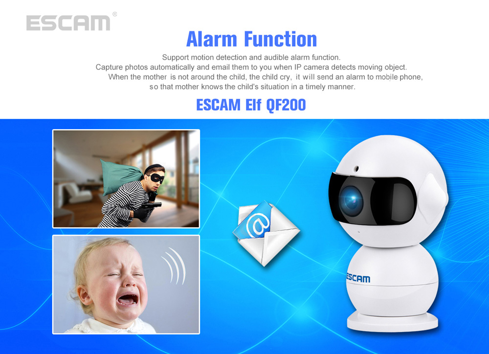 ESCAM Elf QF200 H.264 HD 960P WiFi IP Camera 1.3MP IR-cut Two-way Audio