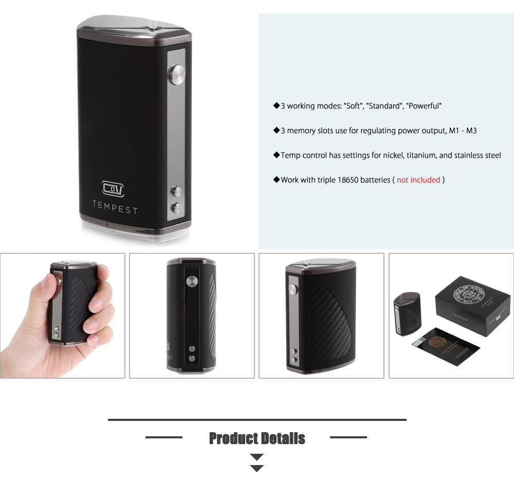 Original Council of Vapor Tempest 200W TC Box Mod Triple 18650 Battery / Zinc Alloy E Cigarette Vape Mod
