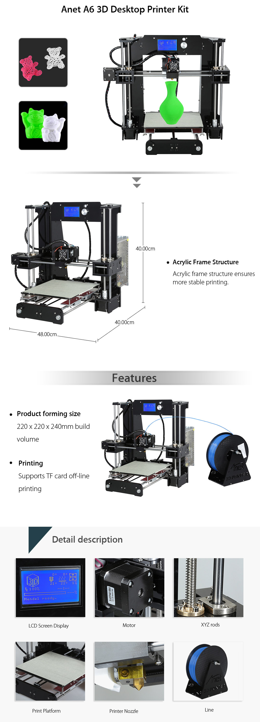 Anet A6 3D Desktop Printer Kit LCD Screen Display with TF Card Off-line Printing Function