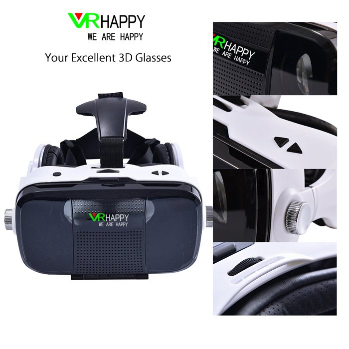 VR HAPPY Virtual Reality Headset 3D Glasses with Microphone 120 Degree FOV IPD Adjustment