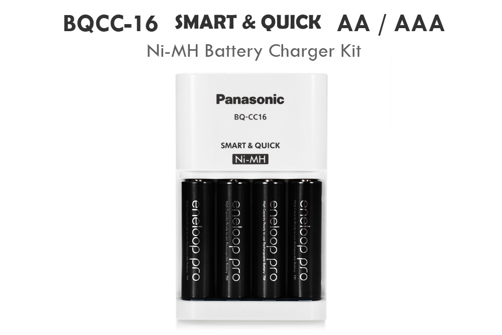 BQCC - 16 AA AAA Ni-MH Battery Charger with 4pcs BK - 3HCCA Rechargeable Batteries