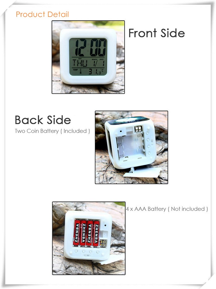 Cartoon Style Digital Alarm Clock 7 Color Change LED Glowing Gift