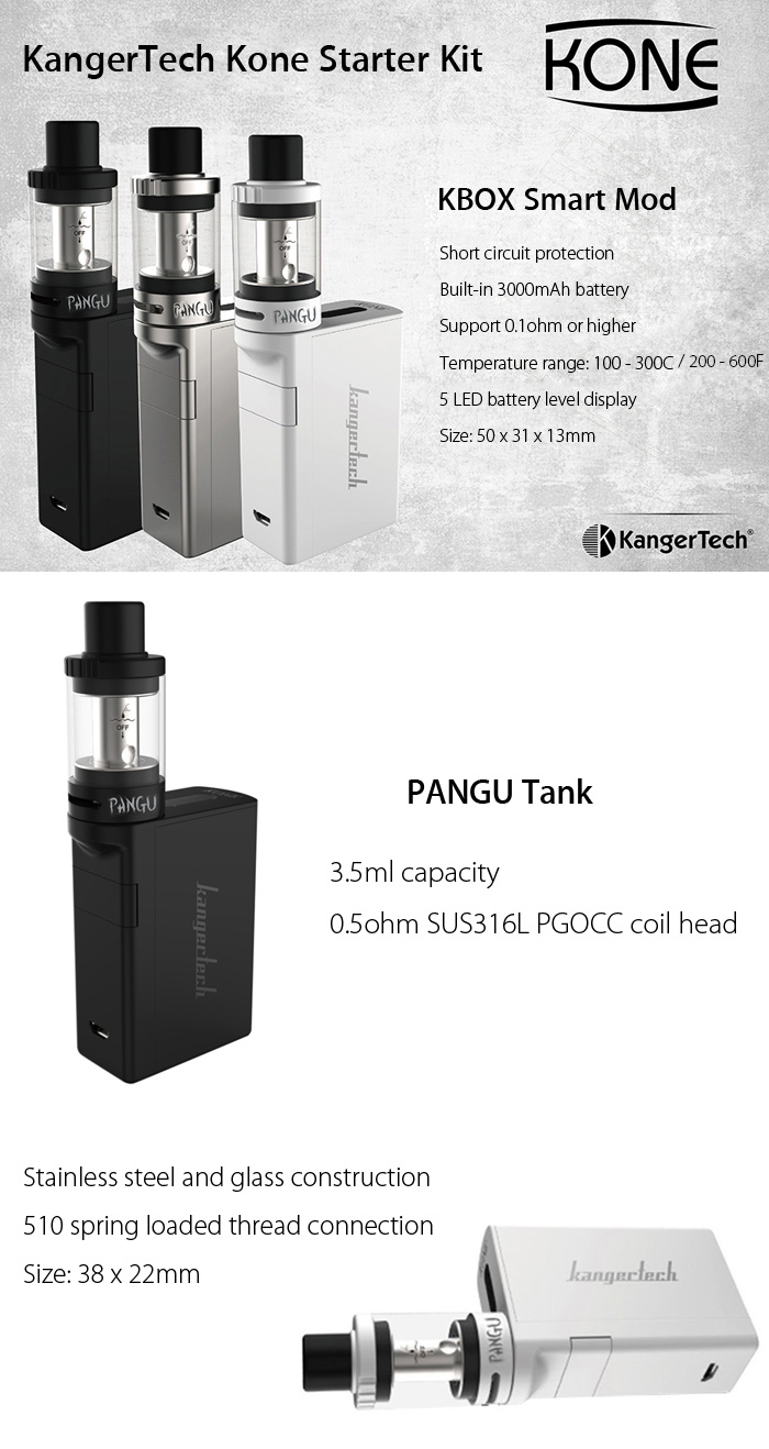 Original KangerTech Kone Starter Kit with 3000mAh / TC / 1 - 60W VW Mod / 3.5ml Tank Atomizer Clearomizer