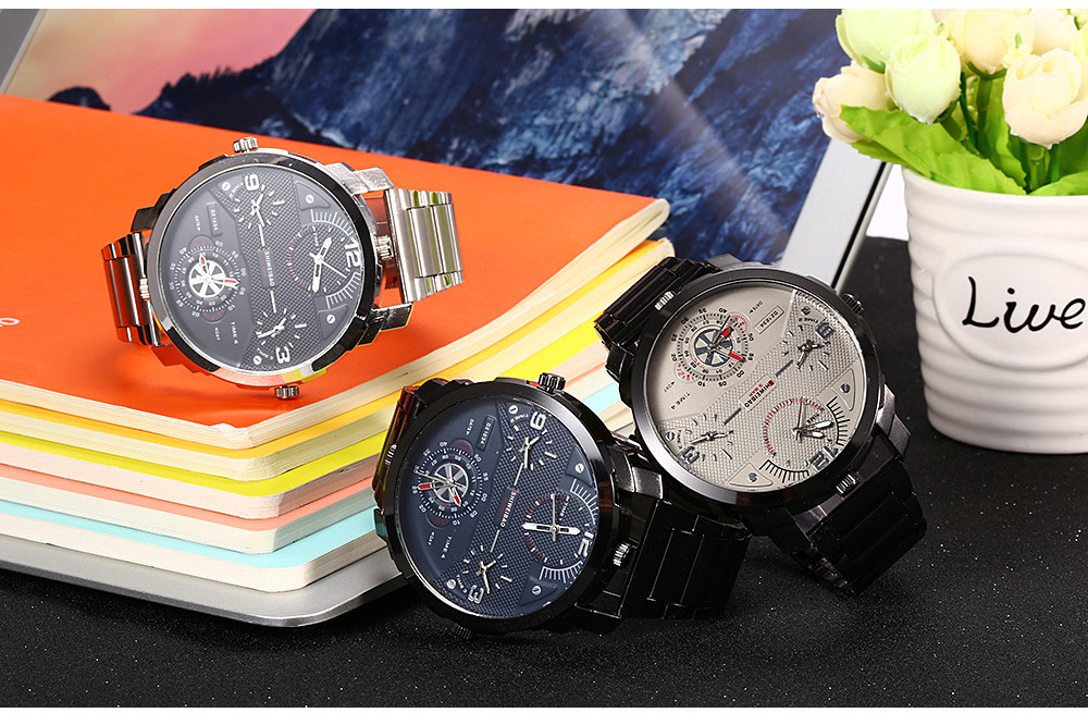 SHIWEIBAO A3612 Casual Steel Band Quartz Watch with Four Movt for Men