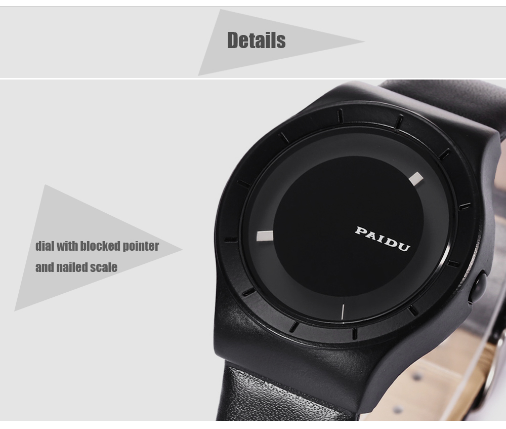 PAIDU 58977 Leather Strap Casual Male Quartz Watch with Nailed Scale