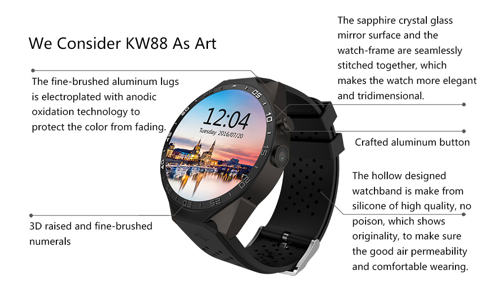 KingWear KW88 3G Smartwatch Review, Specification And Price