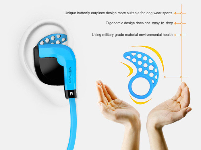 VEVA V3 Bluetooth 4.0 In-ear Sport Music Earbuds Super Bass with Mic Support Hands-free Calls Voice Prompt