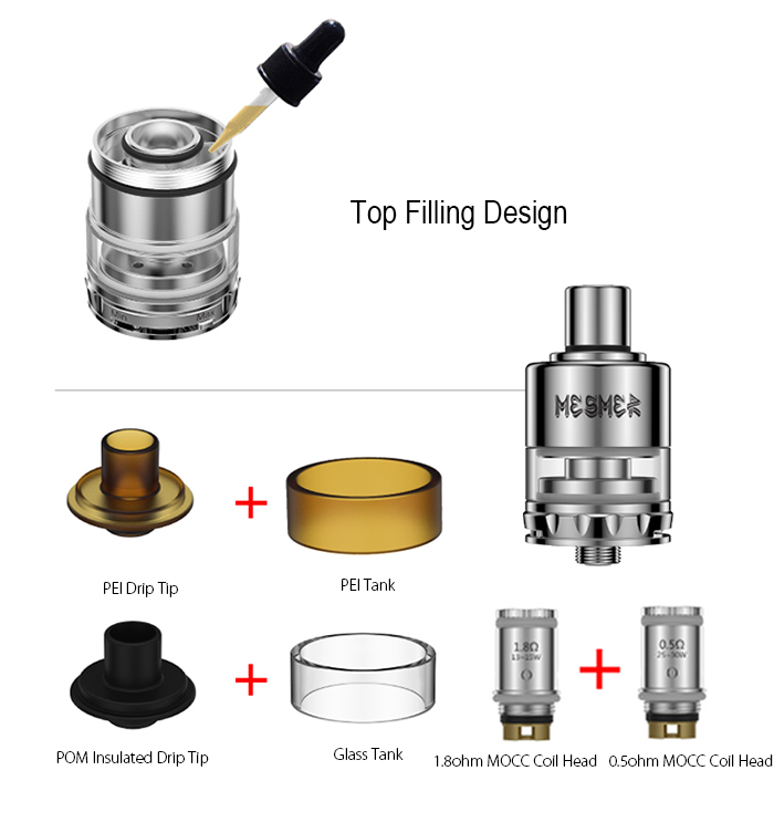 Original Youde UD MESMER - GL Clearomizer with 0.5 ohm / 1.8 ohm Coil Head / Top Filling E Cigarette 2.0ml Tank Atomizer