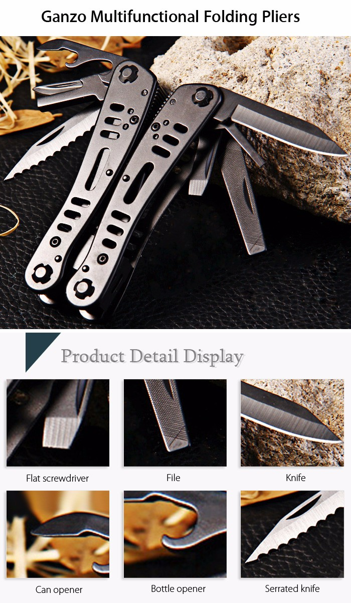 Ganzo G103 Multifunctional Folding Pliers with 10pcs Screwdriver Bits