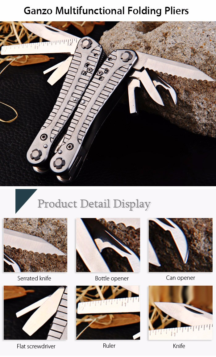 Ganzo G105 Multifunctional Folding Pliers with 10pcs Screwdriver Bits