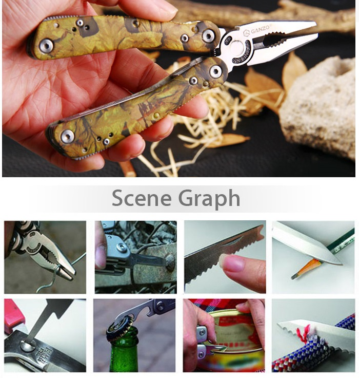 Ganzo 2016 Multifunctional Folding Pliers with 10pcs Screwdriver Bits