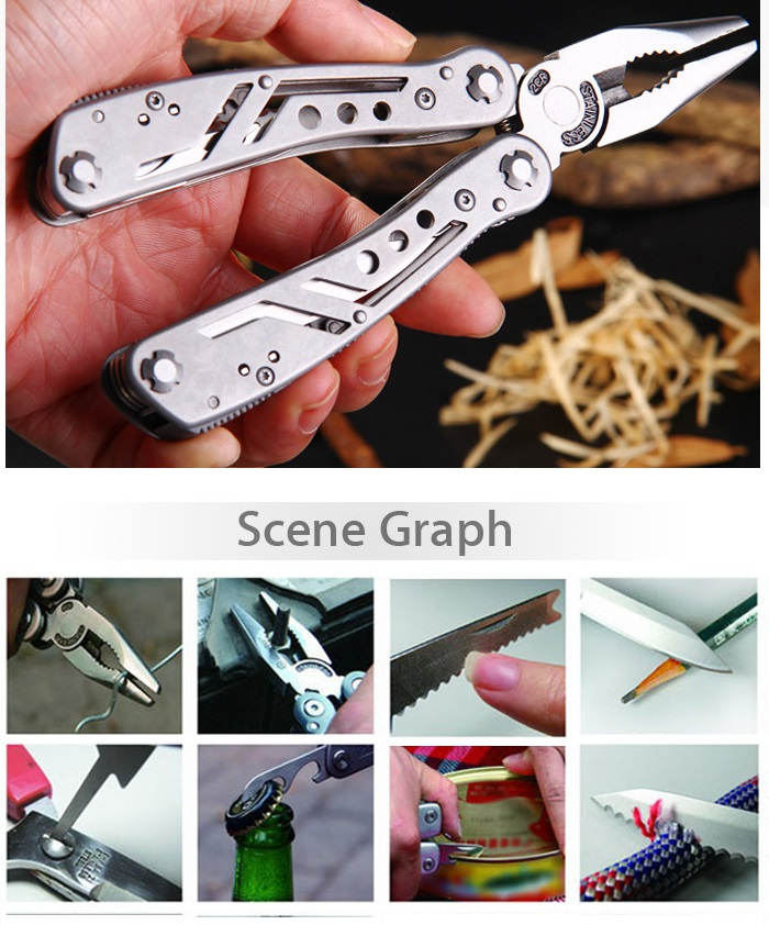 Ganzo 3028 Multifunctional Folding Pliers with 10pcs Screwdriver Bits