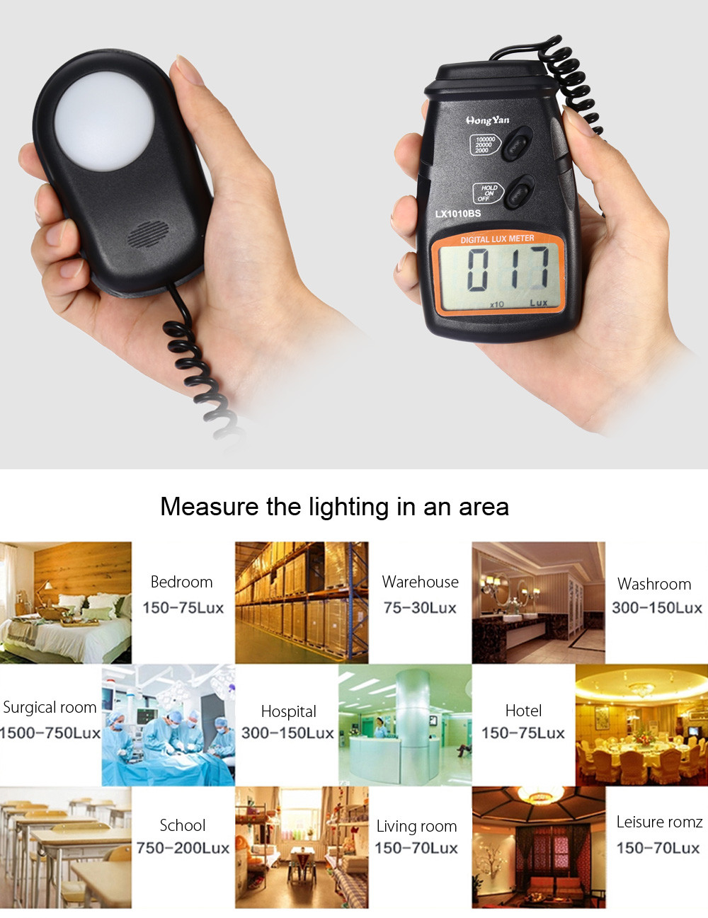 HongYan LX1010BS Digital Luxmeter Light Meter with LCD Display / 100000 Lux