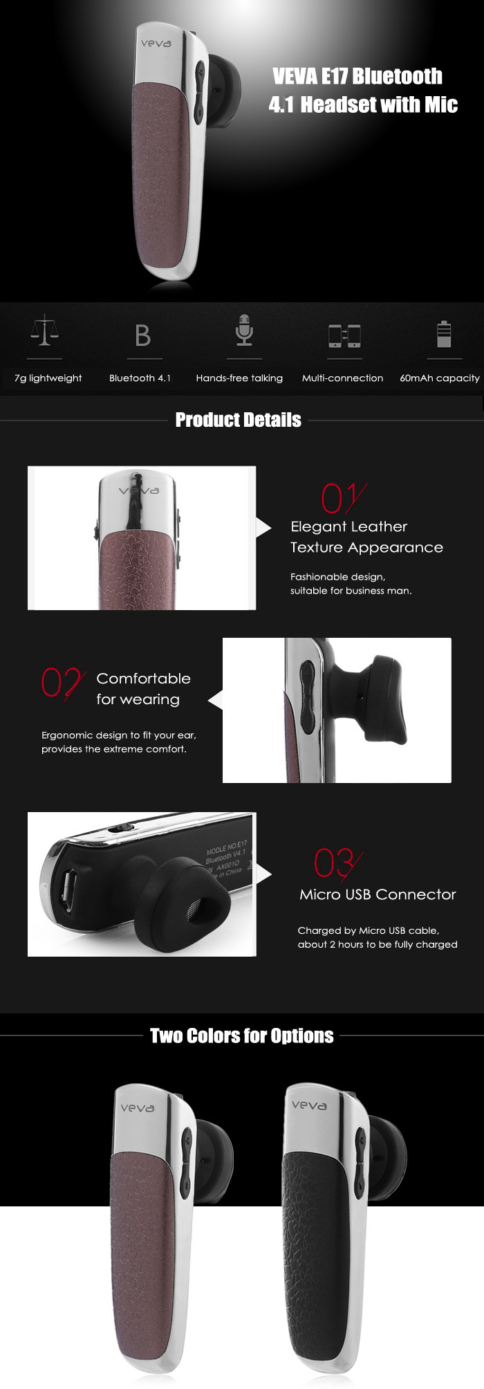 VEVA E17 Wireless Bluetooth 4.1 Headset with Mic Support Hands-free Calls