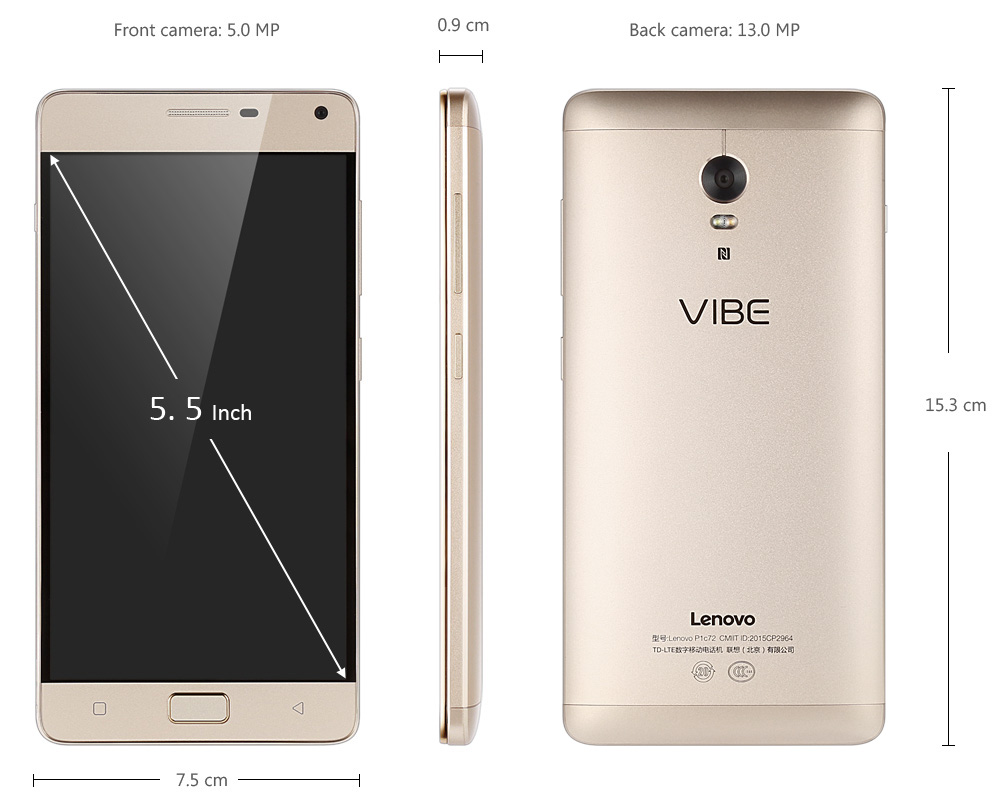 Lenovo Vibe P1 5.5 inch Android 5.1 4G Phablet with Snapdragon 615 64bit Octa Core 3GB RAM 16GB ROM FHD IPS Screen 5MP + 13MP Cameras Fingerprint