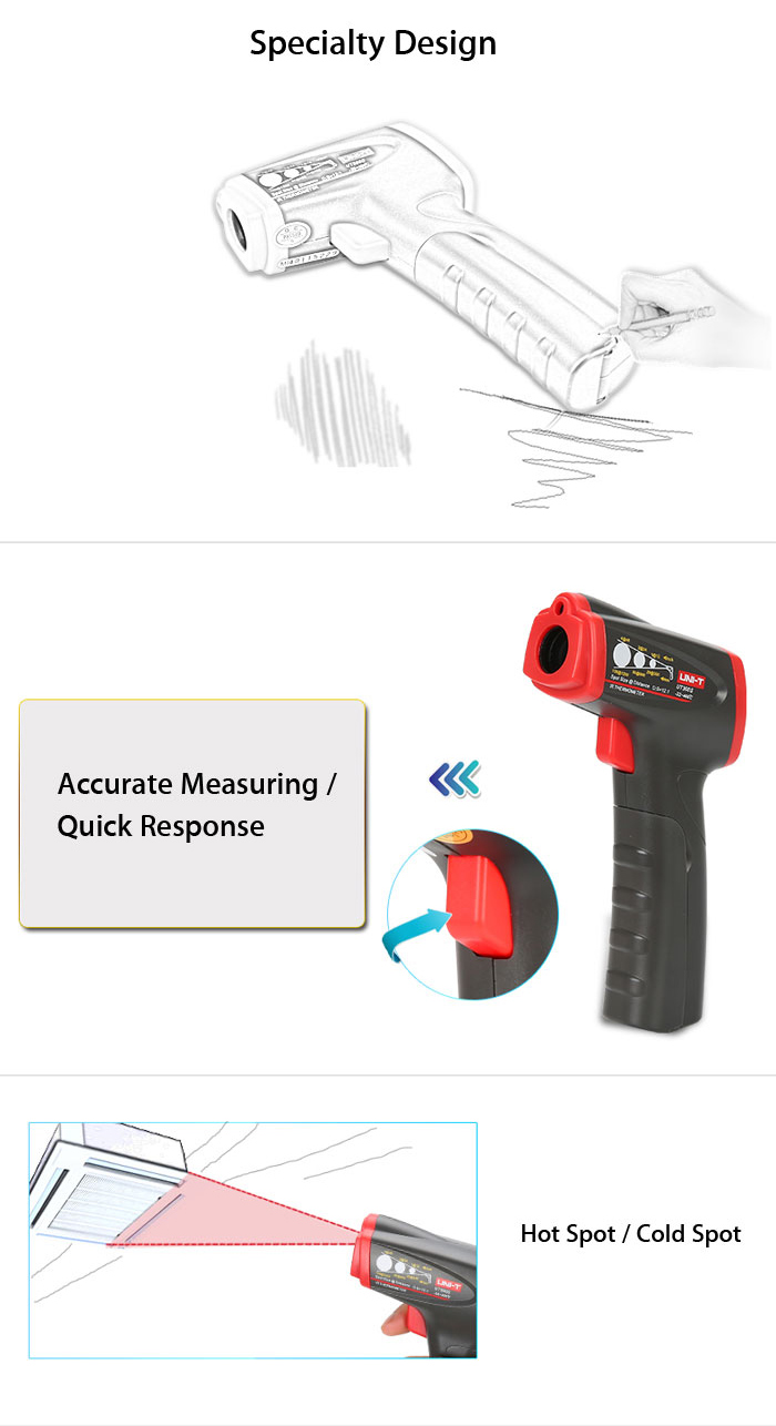 UNI - T UT300S Non-contact Digital Infrared Thermometer Emissivity Adjustable Test Device