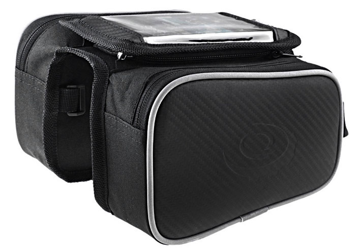 Roswheel 12813 1.8L Cycling Front Frame Bag Tube Pannier with 5.0 inch Mobile Phone Pouch Water Resistant