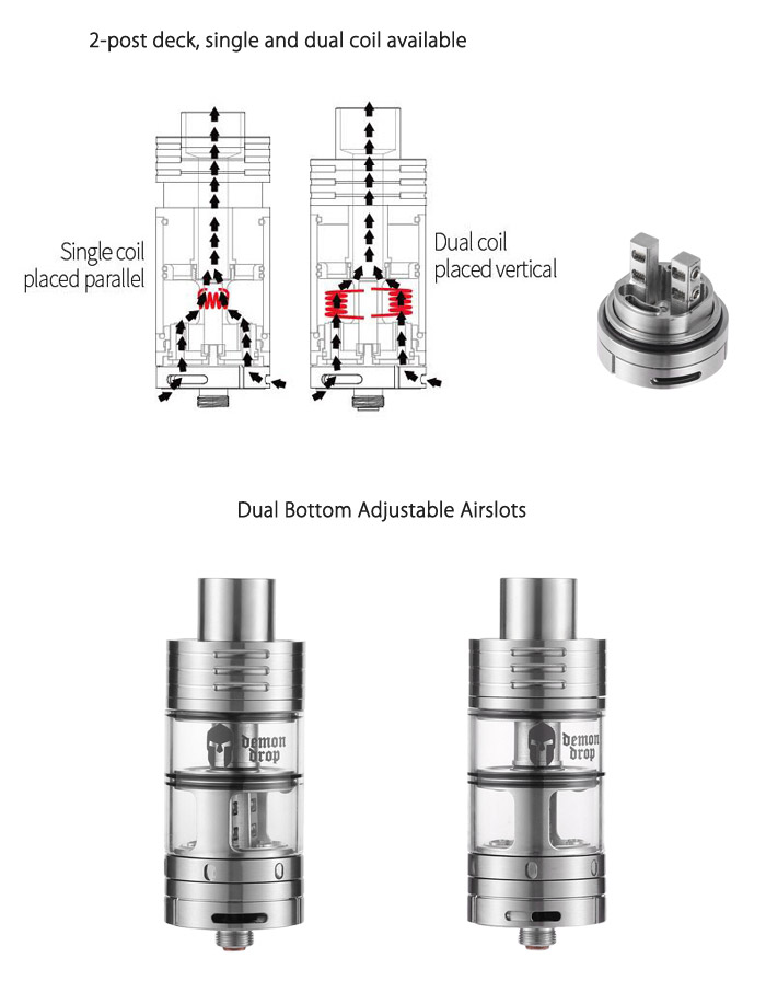 Original SMOKJOY Demon Drop 2 in 1 Pull-oiling RDTA with 5ml RTA Tank Capacity / Unique Top Pull Filling / Bottom Adjustable Airslots Rebuildable Dripping Tank Atomizer for E Cigarette