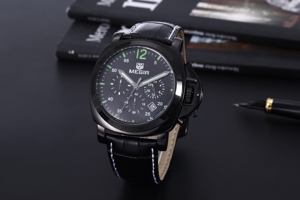 MEGIR 3006 Date Function 30M Water Resistant Male Quartz Watch with Leather Band Working Sub-dials