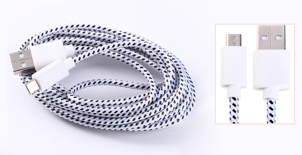 Colorful Round Nylon FabricBraided Data Charging Cable Micro USB to USB 3 Meters