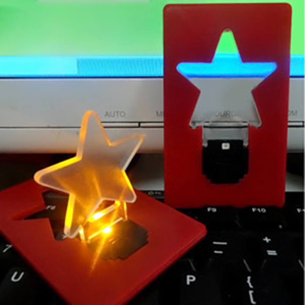 Amazing Pocket LED Card Light Mini Wallet Folding Lamp Portable Small Bulb Gadget