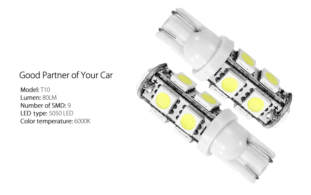 2PCS White T10 9 SMD 5050 LED Car Lamp 6000K 80LM 4.5W 12V